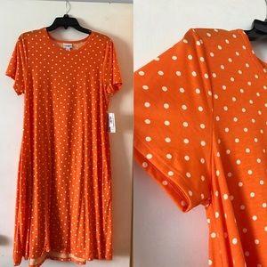 🆕Lularoe Jessie Dress. Large. Orange w/Polka Dots